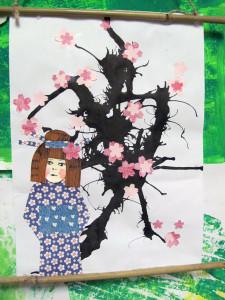 Gejša a sakura-japonský obrázek