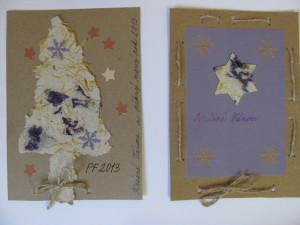 vánoční přáníčka z ručního papíru