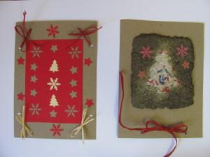 přání z ručního papíru-vánoce