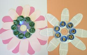 recyklovaná kytka z cd a vršků